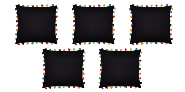 Lushomes Pirate Black Cushion Cover with Colorful tassels (Single pc, 24 x 24‰۝)