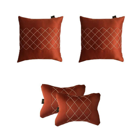 Lushomes Premium Rust Car Set (2 pcs Cushions & 2 pcs Neck rest Pillow) with Artistic Stitch - Lushomes