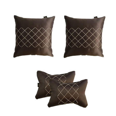 Lushomes Premium Brown Car Set (2 pcs Cushions & 2 pcs Neck rest Pillow) with Artistic Stitch - Lushomes