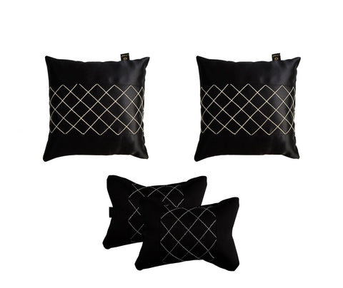 Lushomes Premium Black Car Set (2 pcs Cushions & 2 pcs Neck rest Pillow) with Artistic Stitch - Lushomes