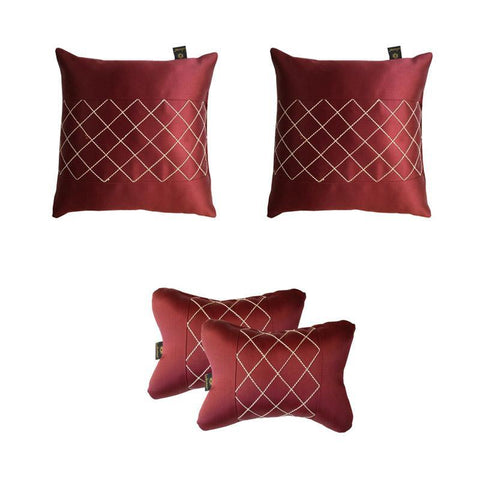 Lushomes Premium Maroon Car Set (2 pcs Cushions & 2 pcs Neck rest Pillow) with Artistic Stitch - Lushomes