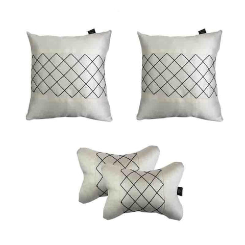 Lushomes Premium Off - white Car Set (2 pcs Cushions & 2 pcs Neck rest Pillow) with Artistic Stitch - Lushomes