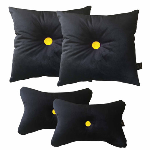 Lushomes Black Premium Velvet Car pillow for Super comfortable Ride (Pack of 4, 2 pcs Neck rest and 2 pcs car pillows) - Lushomes