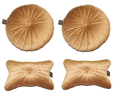 Lushomes Premium Dark Tan Velvet Soft Car Pillow Set (Pack of 4) - Lushomes