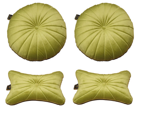 Lushomes Premium Lime Green Velvet Soft Car Pillow Set (Pack of 4) - Lushomes