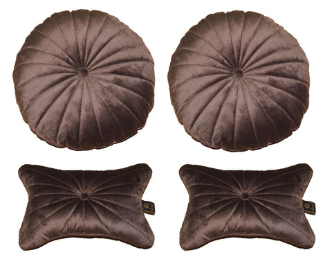 Lushomes Premium Chocolate Brown Velvet Soft Car Pillow Set (Pack of 4) - Lushomes