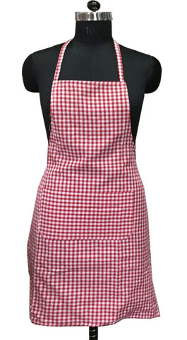 "Lushomes Red Mini Checks Apron with Pocket and waterproof backing, single pc (Size: 25""x33"") - Lushomes"