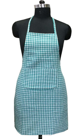 "Lushomes Green Mini Checks Apron with Pocket and waterproof backing, single pc (Size: 25""x33"") - Lushomes"