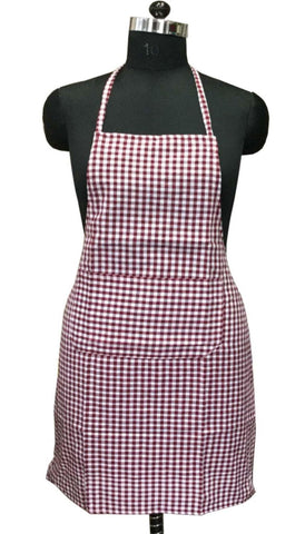 "Lushomes Maroon Mini Checks Apron with Pocket and waterproof backing, single pc (Size: 25""x33"") - Lushomes"