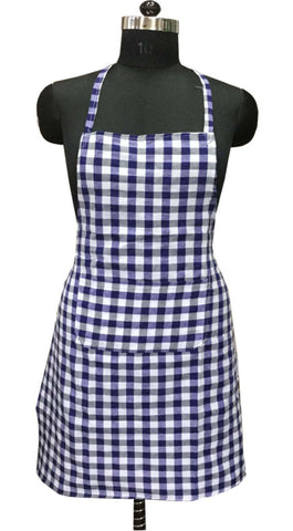 "Lushomes Blue Medium Checks Apron with Pocket and waterproof backing, single pc (Size: 25""x33"") - Lushomes"