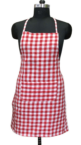 "Lushomes Red Medium Checks Apron with Pocket and waterproof backing, single pc (Size: 25""x33"") - Lushomes"