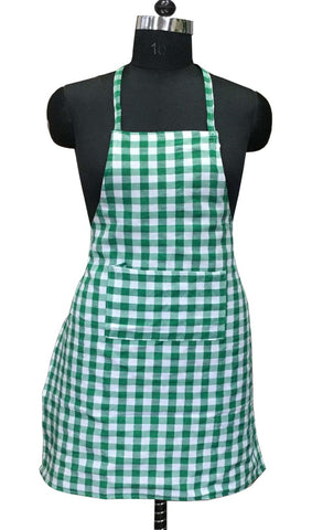 "Lushomes Green Medium Checks Apron with Pocket and waterproof backing, single pc (Size: 25""x33"") - Lushomes"