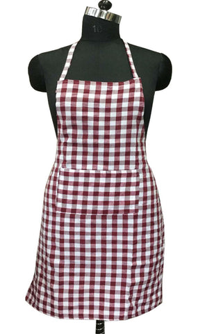 "Lushomes Maroon Medium Checks Apron with Pocket and waterproof backing, single pc (Size: 25""x33"") - Lushomes"