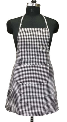 "Lushomes Coffee Mini Checks Apron with Pocket and waterproof backing, single pc (Size: 25""x33"") - Lushomes"