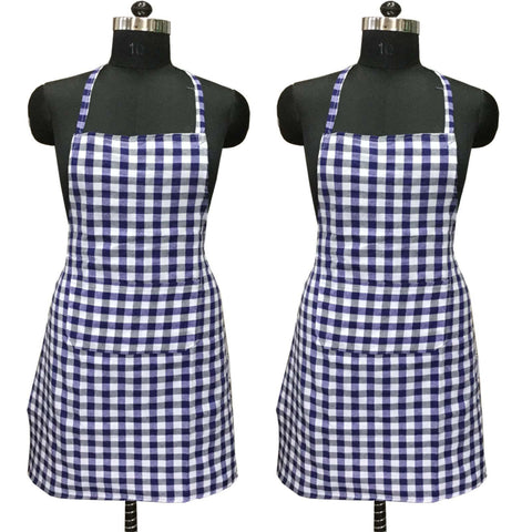 "Lushomes Blue Medium Checks Apron with Pocket and waterproof backing, 2 pcs (Size: 25""x33"") - Lushomes"