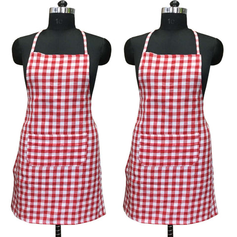 "Lushomes Red Medium Checks Apron with Pocket and waterproof backing, 2 pcs (Size: 25""x33"") - Lushomes"