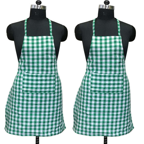 "Lushomes Green Medium Checks Apron with Pocket and waterproof backing, 2 pcs (Size: 25""x33"") - Lushomes"