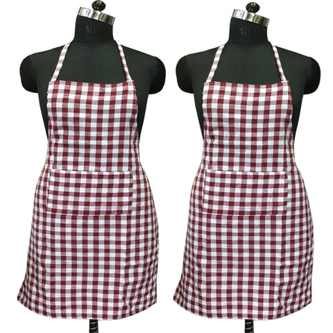 "Lushomes Maroon Medium Checks Apron with Pocket and waterproof backing, 2 pcs (Size: 25""x33"") - Lushomes"