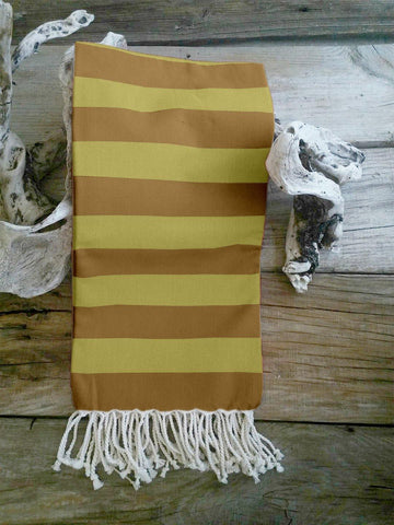 Lushomes Hammam Light Yellow Fouta Towel Cotton Multipurpose Towel With Fringes (76 x 152 cms, Single Pc).