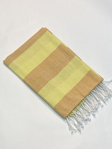 Lushomes Hammam Light Yellow Fouta Towel Cotton Multipurpose Towel With Fringes (76 x 152 cms, Single Pc). - Lushomes
