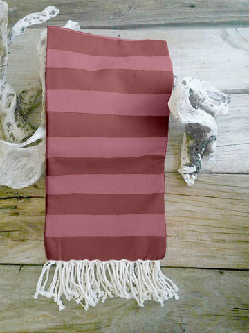 Lushomes Hammam Red Fouta Towel Cotton Multipurpose Towel With Fringes (76 x 152 cms, Single Pc).