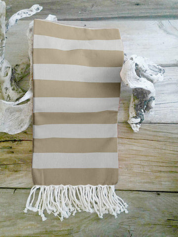 Lushomes Hammam Beige Fouta Towel Cotton Multipurpose Towel With Fringes (76 x 152 cms, Single Pc).