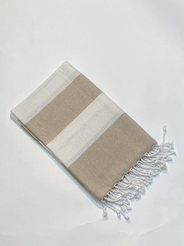 Lushomes Hammam Beige Fouta Towel Cotton Multipurpose Towel With Fringes (76 x 152 cms, Single Pc). - Lushomes
