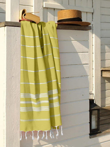 Lushomes Laura Hammam Light Yellow Fouta Towel Cotton Multipurpose Towel With Fringes (76 x 152 cms, Single Pc).