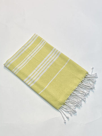 Lushomes Laura Hammam Light Yellow Fouta Towel Cotton Multipurpose Towel With Fringes (76 x 152 cms, Single Pc). - Lushomes