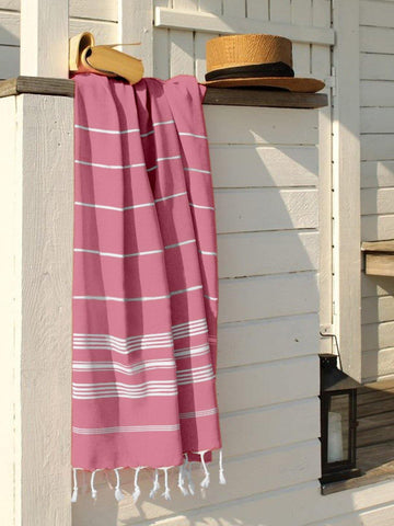Lushomes Laura Hammam Pink Fouta Towel Cotton Multipurpose Towel With Fringes (76 x 152 cms, Single Pc).
