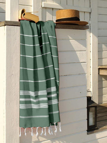 Lushomes Laura Hammam Peacock Green Fouta Towel Cotton Multipurpose Towel With Fringes (76 x 152 cms, Single Pc).