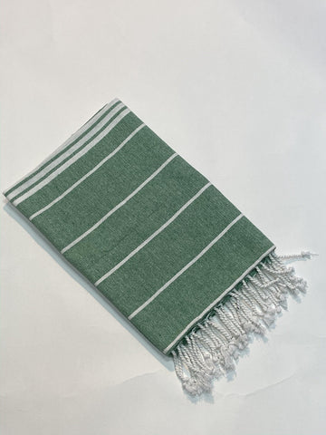 Lushomes Laura Hammam Peacock Green Fouta Towel Cotton Multipurpose Towel With Fringes (76 x 152 cms, Single Pc). - Lushomes