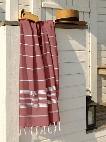 Lushomes Laura Hammam Red Fouta Towel Cotton Multipurpose Towel With Fringes (76 x 152 cms, Single Pc).