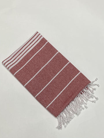 Lushomes Laura Hammam Red Fouta Towel Cotton Multipurpose Towel With Fringes (76 x 152 cms, Single Pc). - Lushomes