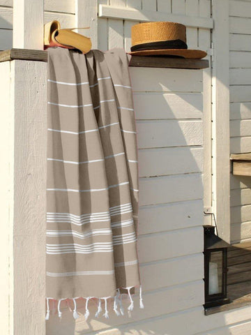Lushomes Laura Hammam Beige Fouta Towel Cotton Multipurpose Towel With Fringes (76 x 152 cms, Single Pc).