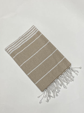 Lushomes Laura Hammam Beige Fouta Towel Cotton Multipurpose Towel With Fringes (76 x 152 cms, Single Pc). - Lushomes