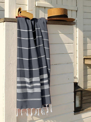 Lushomes Laura Hammam Neavy Blue Fouta Towel Cotton Multipurpose Towel With Fringes (76 x 152 cms, Single Pc).