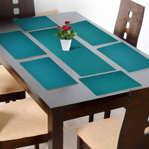Lushomes Peacock Green Placemat and Runner Set (6 pcs Placemat and 1 Pc runner) - Lushomes