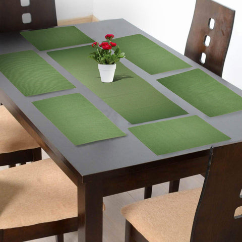 Lushomes Mint Green Placemat and Runner Set (6 pcs Placemat and 1 Pc runner) - Lushomes