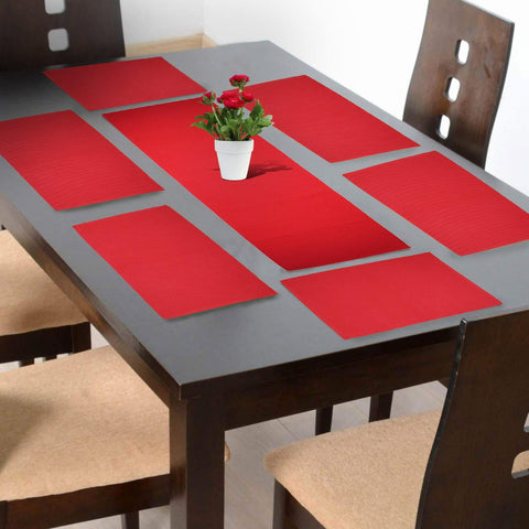 Lushomes Red Placemat and Runner Set (6 pcs Placemat and 1 Pc runner) - Lushomes