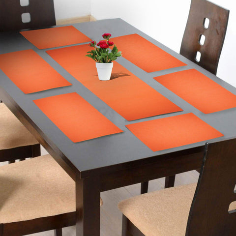 Lushomes Orange Placemat and Runner Set (6 pcs Placemat and 1 Pc runner) - Lushomes