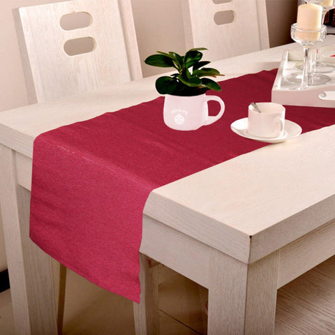 Lushomes Cotton Maroon Unidyed Ribbed Table Runner (Size 33 x 180 cms, Single Pc) - Lushomes
