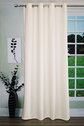 "Lushomes Cream Water Repellent Frankfurt Matty Door Curtain with 8 metal eyelets & tie back (Size: 52"" x 90"", Single pc) - Lushomes"