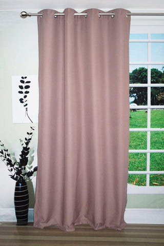 "Lushomes Light Lilac Water Repellent Frankfurt Matty Door Curtain with 8 metal eyelets & tie back (Size: 52"" x 90"", Single pc) - Lushomes"