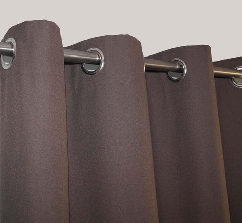 "Lushomes Brown Water Repellent Frankfurt Matty Door Curtain with 8 metal eyelets & tie back (Size: 52"" x 90"", Single pc) - Lushomes"
