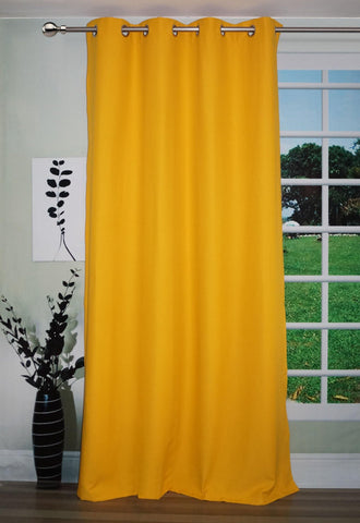 Lushomes Yellow Water Repellent Frankfurt Matty Door Curtain with 8 metal eyelets & tie back (Single pc pack) - Lushomes