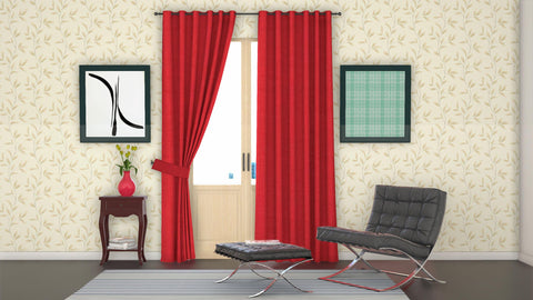 "Lushomes Red Water Repellent Frankfurt Matty Door Curtain with 8 metal eyelets & tie back (Size: 52"" x 90"", Single pc) - Lushomes"
