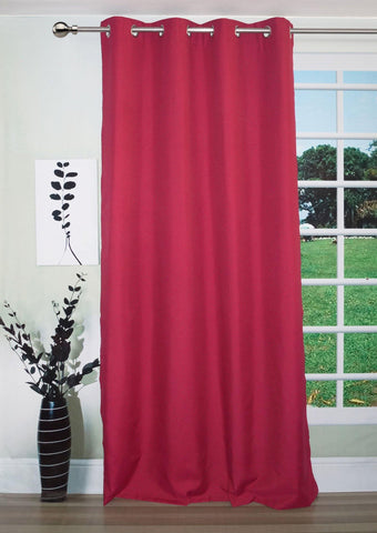 "Lushomes Deep Red Water Repellent Frankfurt Matty Curtain with 8 metal eyelets & tie back (Size: 52"" x 90"", Single pc) - Lushomes"