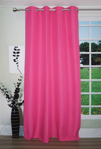 "Lushomes Pink Water Repellent Frankfurt Matty Door Curtain with 8 metal eyelets & tie back (Size: 52"" x 90"", Single pc) - Lushomes"