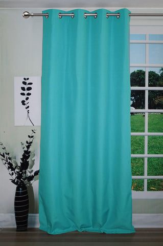 "Lushomes Turquoise Water Repellent Frankfurt Matty Door Curtain with 8 metal eyelets & tie back (Size: 52"" x 90"", Single pc) - Lushomes"